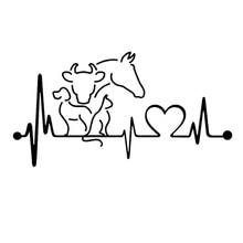 20*10.6CM Dog Cat Horse Cow Heartbeat Lifeline Monitor Creative Funny Animal Car Sticker Black/Silver C6-1134