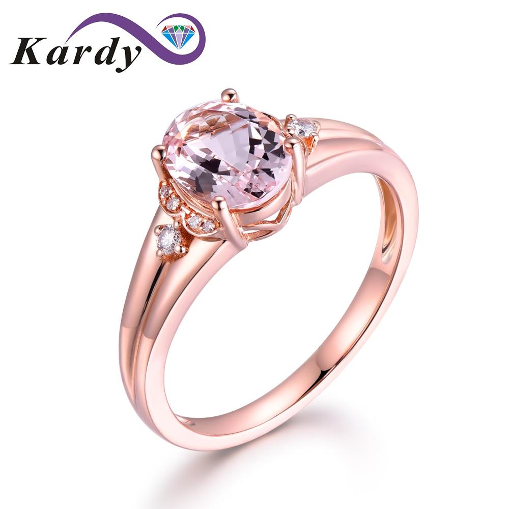 Joyería Fina 14 KT oro rosa genuino piedra preciosa Natural diamante compromiso anillo de boda conjuntos para mujeres