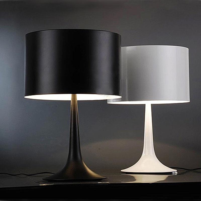 مصباح طاولة فطر حديث باللونين الأبيض والأسود ، مصباح طاولة حديد للمنزل ، مصباح طاولة بجانب السرير ، لغرفة المعيشة