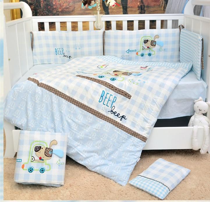 Promotion! 7PCS embroidery baby girls crib bedding sets newborn crib bumper ,include(2bumper+duvet+sheet+pillow)