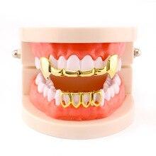 Accolades orthodontiques accolades dentaires plaqué or épi électrolytique Hip Hop Bling dents casquettes haut bas Grill ensemble de rappeur