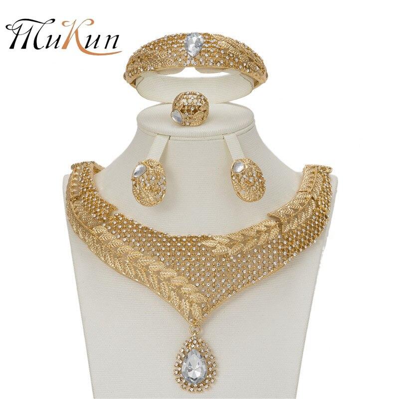 MUKUN 2018 moda Nupcial Presente de Casamento Nigeriano Beads Africanos Conjunto de Jóias Dubai Projeto da Cor do Ouro Colar Conjunto de Jóias Por Atacado