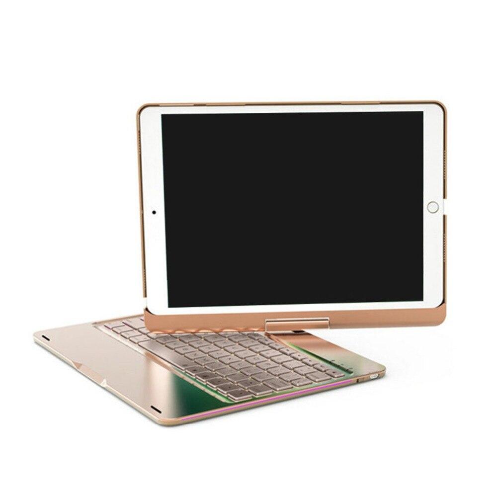"Drahtlose Bluetooth Aluminium Tastatur Fall Für IPAD PRO 9.7/10.5 ""Zoll 360 Grad Tastatur 7 FARBE Hintergrundbeleuchtung Folio abdeckung"