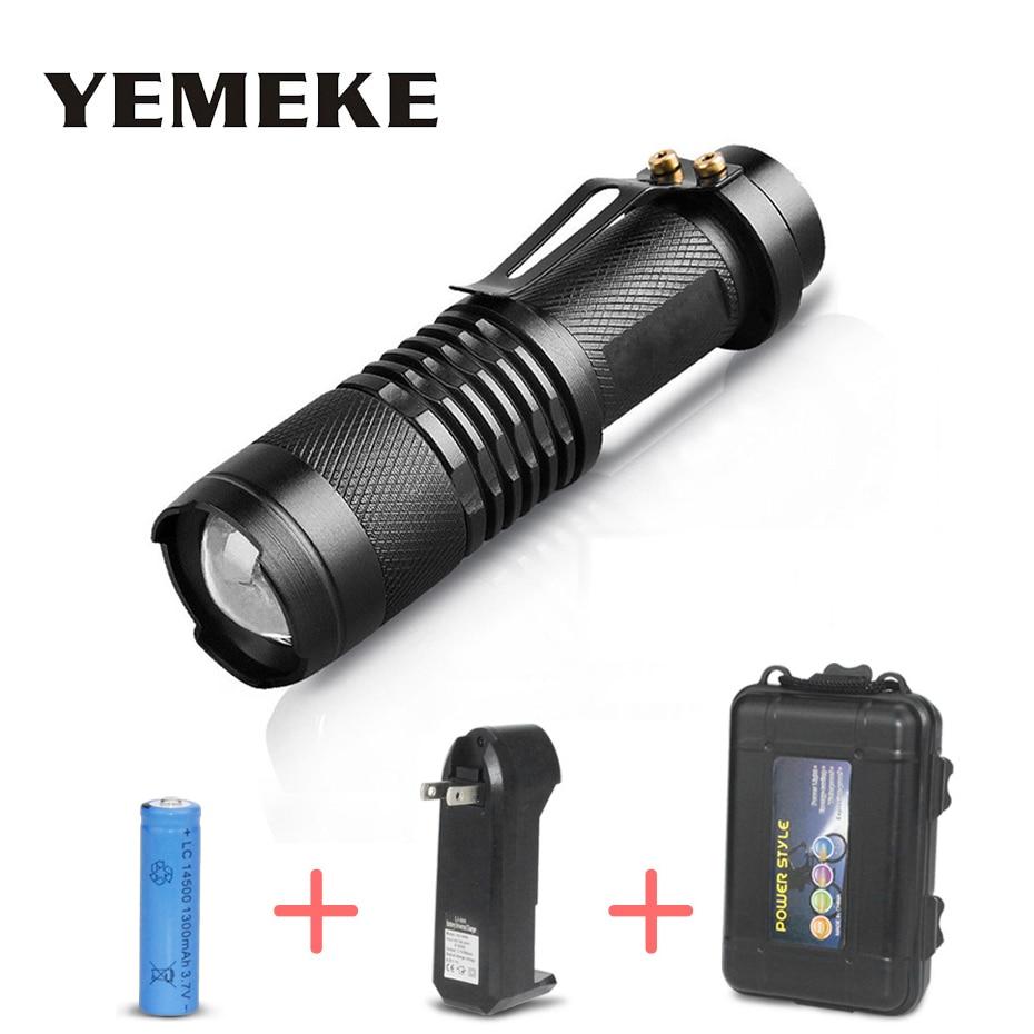 Портативный мини фонарик Cree Q5 2000Lm светодиодный фонарик перезаряжаемый светодиодный водонепроницаемый ультра яркие фонарики AA 14500 батарея