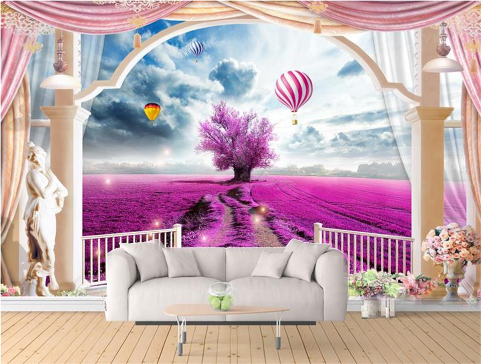 3d papel tapiz foto papel tapiz personalizado mural para sala de estar lavanda globo balcón foto sofá antecedentes de la TV no tejida etiqueta de la pared