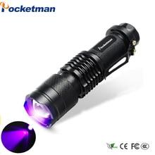 Lanterna uv mini led tocha 395nm blacklight comprimento de onda violeta luz uv 9 led flash luz torcia linterna alumínio lâmpada