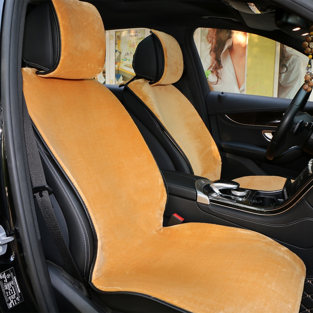 1 Piece Short Plush Car Seat Cover Front Winter Artificial Wool Automobile Seat Cushion Comfortable Warm Auto Cloak Pad
