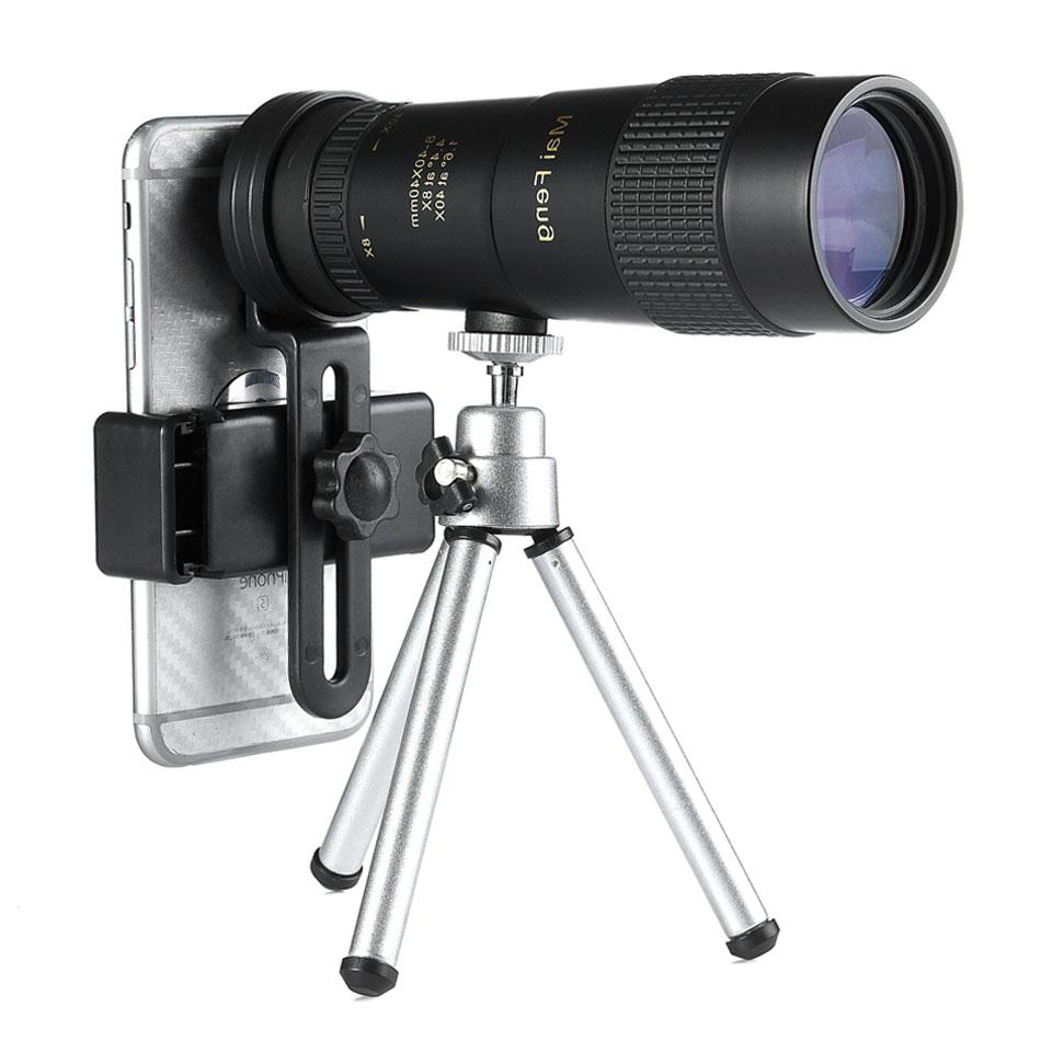 تلسكوب أحادي العين Maifeng 8-40x40, تلسكوب أحادي مضغوط قابل للسحب ، مقاوم للماء ، Bak4 ، زجاج احترافي HD ED مع حامل ثلاثي القوائم ، مشبك هاتف