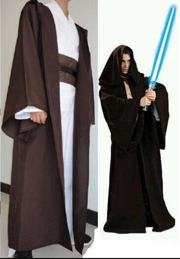 Gwiezdne wojny kostium szlafrok z kapturem dla dorosłych Cosplay Jedi Kinight czarny brązowy peleryna peleryna dla mężczyzn anime przebranie na karnawał S-2XL