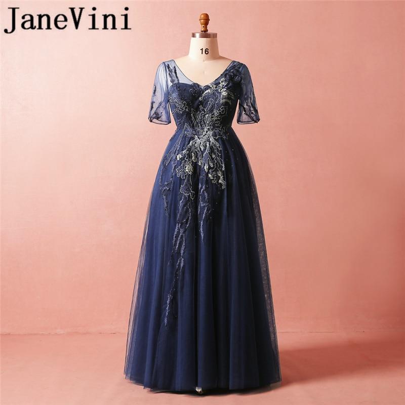 JaneVini-Vestidos largos azul marino para madre de la novia, vestidos elegantes con...
