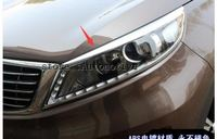 ABS Chrome Head Light Lamp Cover Trim New 2Pcs\set exterior for 2011 -2015 For Kia Sportage