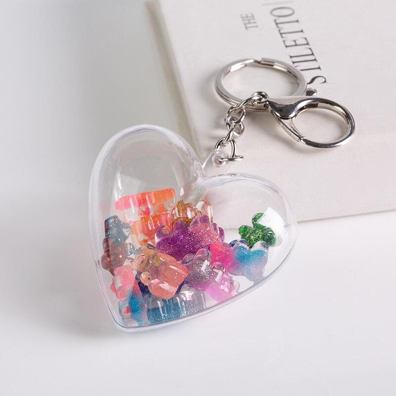 1 unidad llavero estereoscópico resina Gummy oso encantos resina bolso llavero para mujer coche colgantes Linda joyería