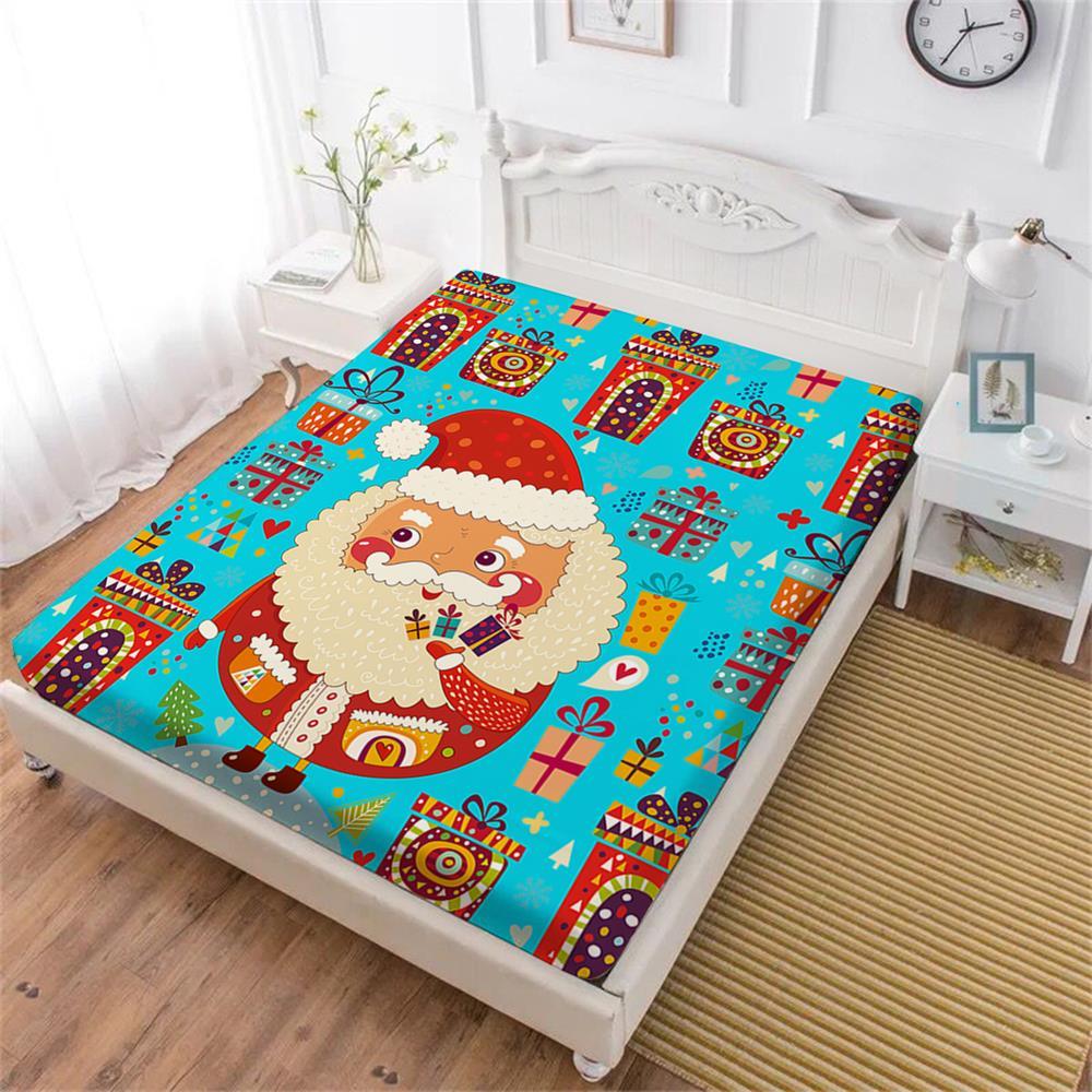 Linda sábana de cama de Navidad de dibujos animados de Santa Claus regalo colorido sábana ajustada doble Rey reina ropa de cama Funda de colchón decoración del hogar D25