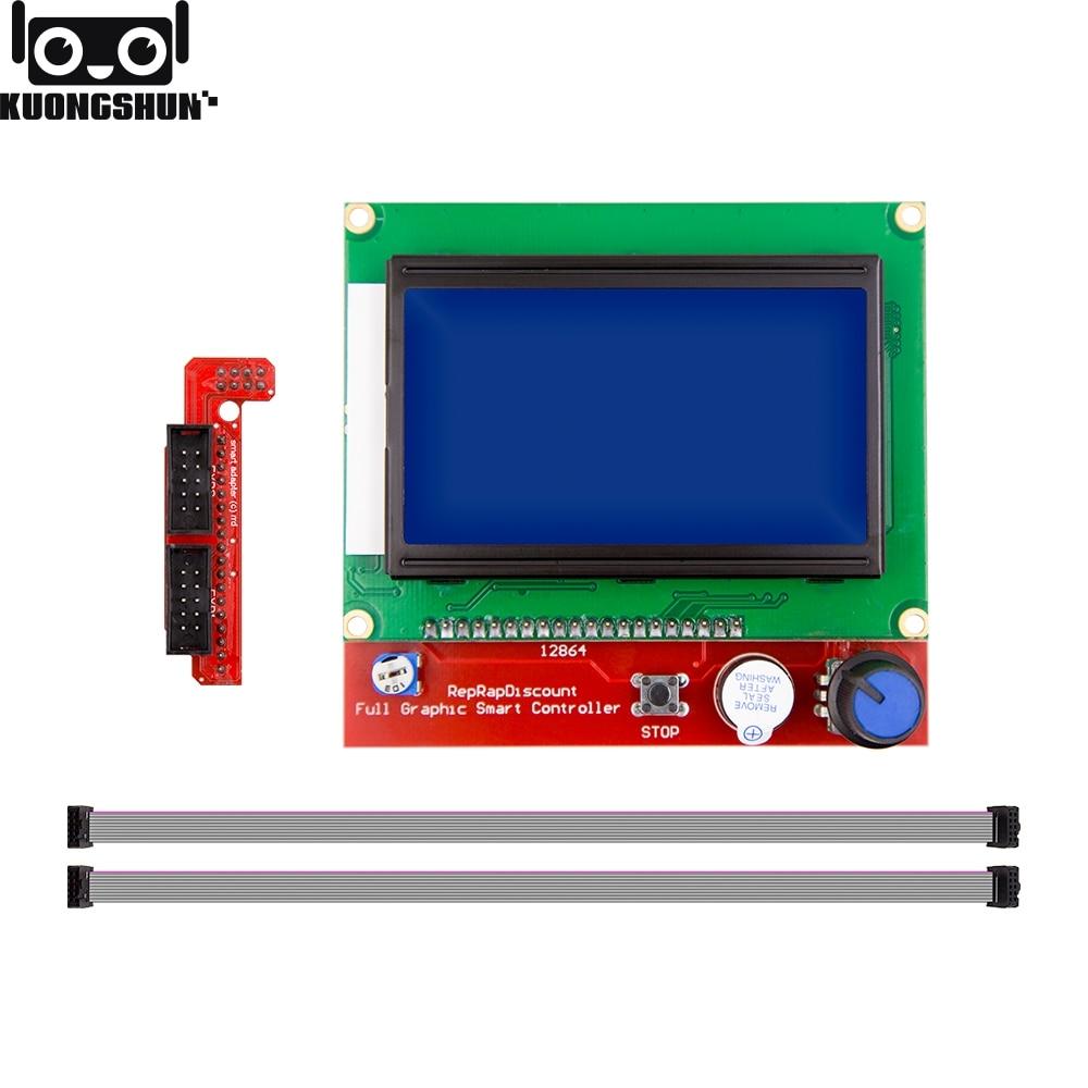 KUONGSHUN Full Graphic 12864 controlador inteligente rampas 1,4 LCD 12864 LCD Panel de Control pantalla azul para impresora 3D