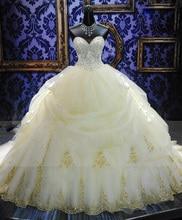 Superbe robe De mariée en or broderie robe De mariée 2018 Vintage cathédrale Train Vestido De Noiva robes De mariée De haute qualité