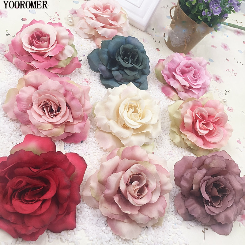 AliExpress - YOOROMER 5pcs 8cm Silk Rose Artificial Flower Wedding Home Furnishings DIY Wreath Sheets Handicrafts Simulation Cheap Fake Flowe