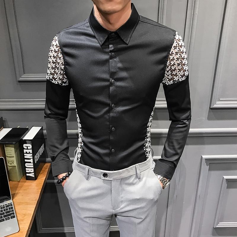 Camisa de alta calidad para hombre, camisas sexis de retales de encaje calado para hombre, manga larga, club nocturno, Camisa ajustada, vestido, esmoquin para hombre, 3xl-m
