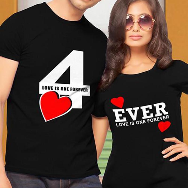 EnjoytheSpirit, camiseta Unisex para parejas, camiseta Love Is One Forever 4 Ever, camiseta informal de algodón suave, camiseta XS-2XL a la moda