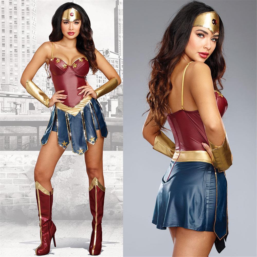 2019 alta calidad caliente Mujer Maravilla traje de Cosplay de lujo supermujeres el amanecer de la justicia vestido elegante de superhéroe Diana con cubierta de pie