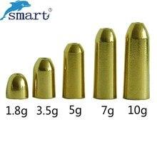 Smart 50 unids/lote 1,8/3,5/5/7/10g diferentes peso plomo de pesca peso de cobre aparejos de pesca accesorios de pesca de carpa alimentador