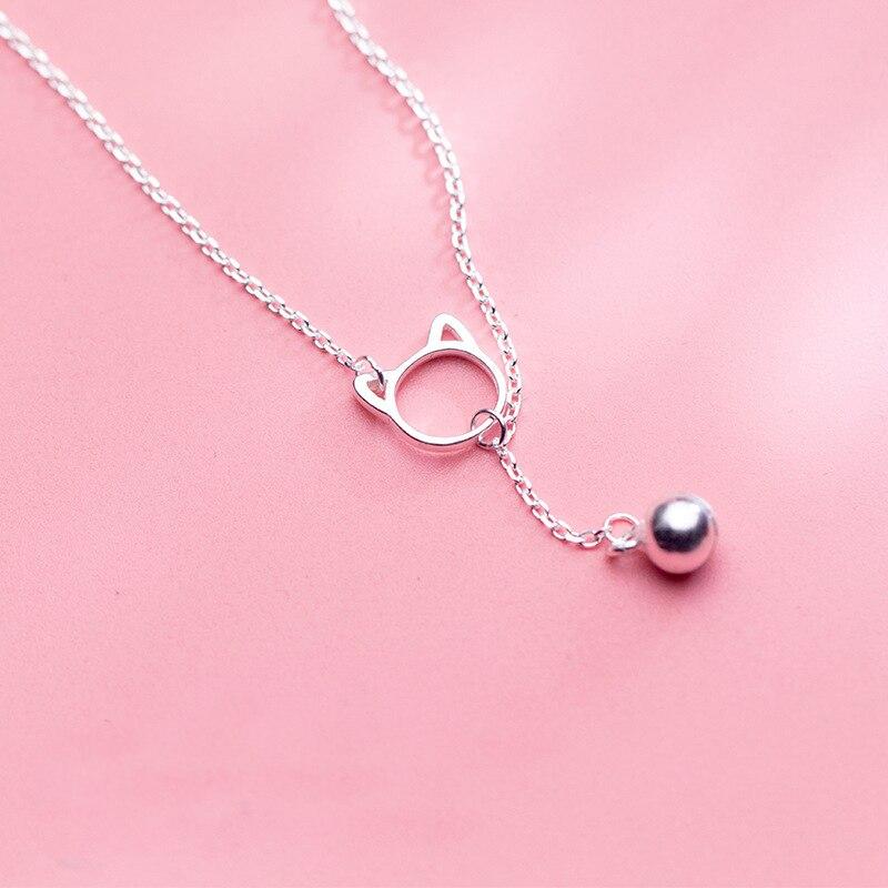 Mloveacc 925 prata esterlina bonito oco gato sino charme colares para senhoras simples pingente moda tendência gargantilha neckalce