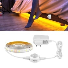Motion Sensor LED Night light 1M 2M 3M 4M 5M Night Sensor PIR LED Strip Bed Closet Cabinet Stair lamp with 110 220V Power Supply