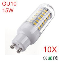 10 Uds. Lámpara LED de alta potencia 15W 5730 SMD bombilla LED GU10 48leds Chips maíz luz LED Candel luz AC220V 230V 240V