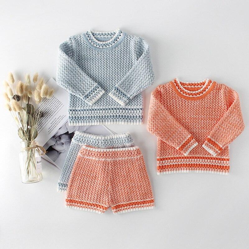 Новинка Осень зима 2020 комплекты вязаной одежды для девочек одежда мальчиков