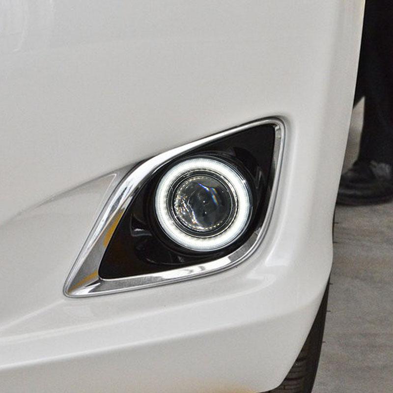 eOsuns COB angel eye led daytime running light DRL + Fog Light + Projector Lens + fog lamp cover for toyota venza 2013-15