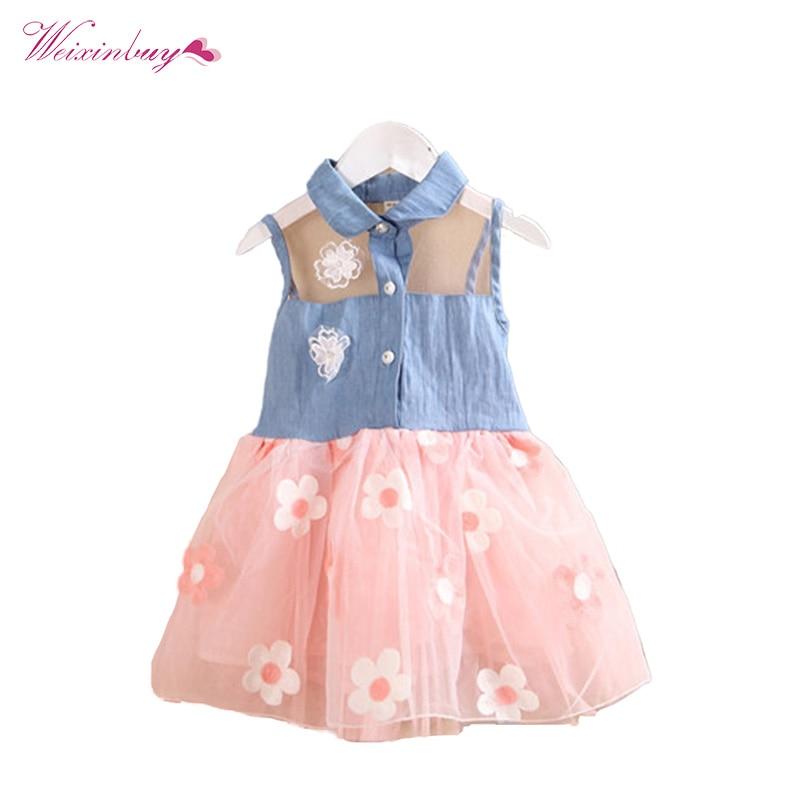 WEIXINBUY Kids Girls Dress 2-7Y Princess Cute Kids Girl's Denim Sleeveless Ball Grown Floral Tutu Dress Mini Vestidos