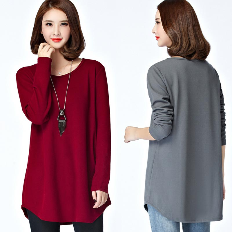 Camiseta de otoño 2020 para mujer, Camiseta de talla grande de manga larga 5XL, camisa holgada informal con cuello redondo, Camiseta femenina