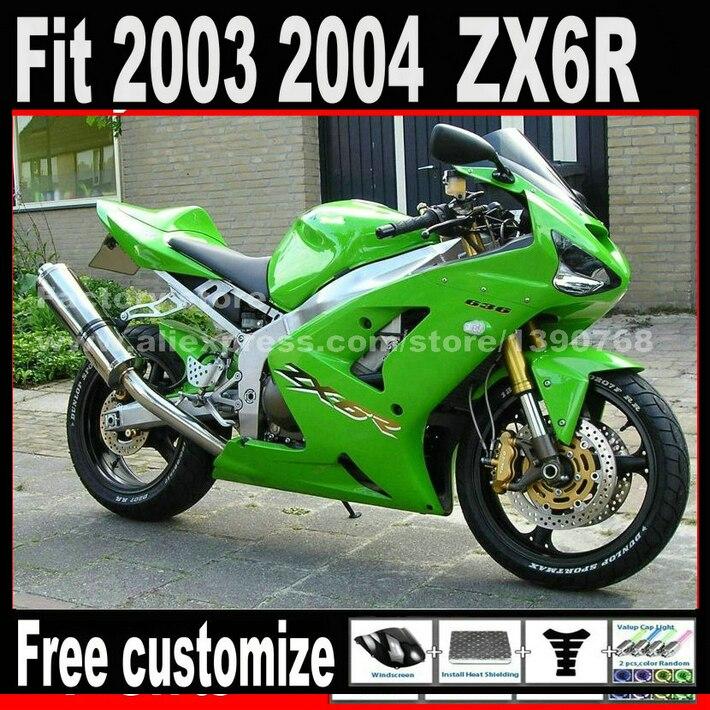 高品質フェアリングキットを 2003 2004 カワサキ ZX6R 忍者 636 グリーン ZX636 ZX-6R 03 04 フェアリングセット AN2