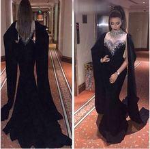 Magnifique robe de soirée en velours noir, sirène sur mesure noire perlée à la main longues robes de soirée