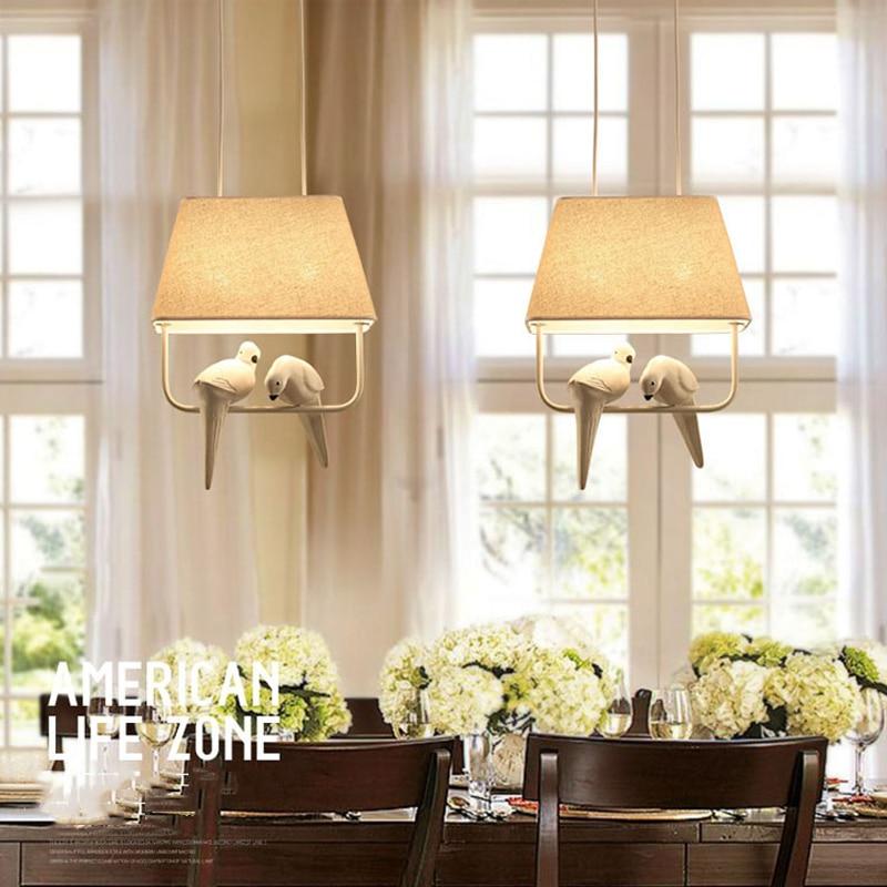 (Wecus) Mittelmeer vögel Anhänger Lampe, vintage Bar Restaurant Schlafzimmer esszimmer gang cafe E27 stoff Kunst Anhänger Licht