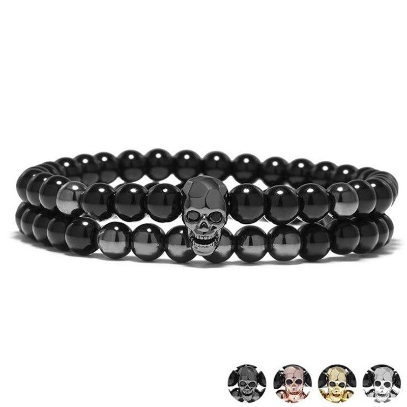DIEZI One Sets 6 мм черная энергетическая Йога браслет с черепом для мужчин и женщин, натуральные камни, буддистские браслеты из бусин, нанизанных на нить ювелирных изделий