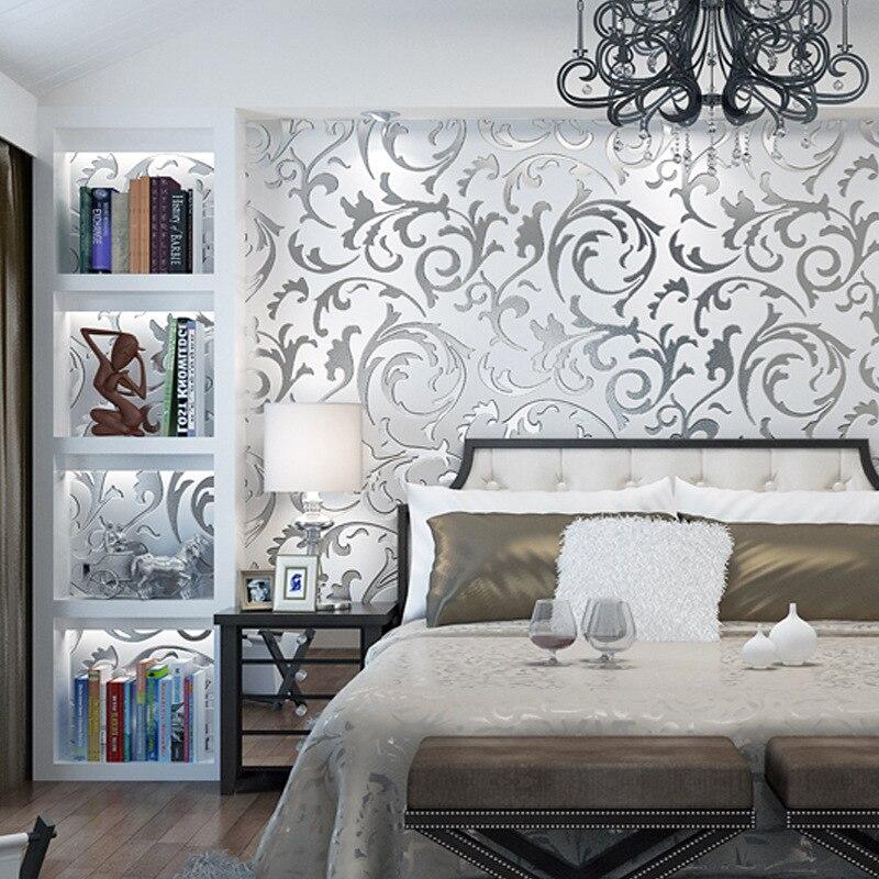 Papel de parede moderno minimalista 3d, fundo de tv, estéreo, prata, ouro, sala de estar, quarto, gancho europeu, flor, folha, papel de parede, mural