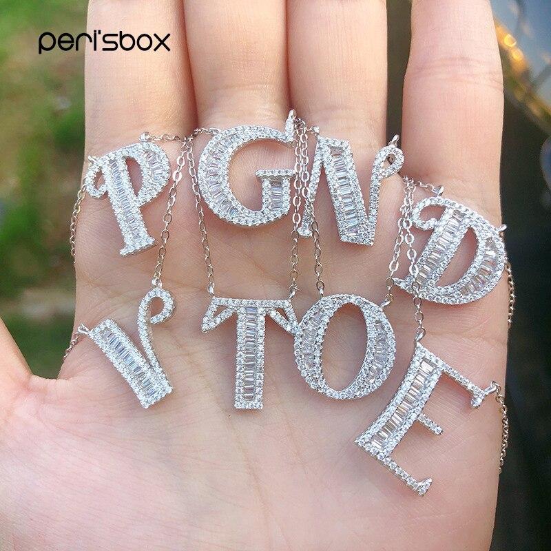 Collar con iniciales de plata en Color piedra CZ de tendencia, collares con letras de A Z de Zirconia cúbica fina, colgantes minimalistas con nombre para mujer