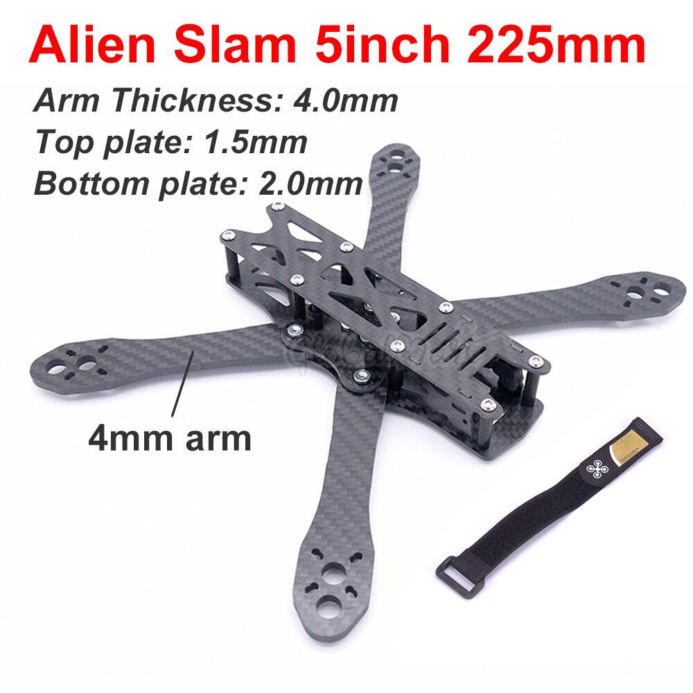 Alien 5 polegada 225mm/alien slam 5 polegada 225 225mm diy cross racing mini zangão fpv quadcopter fibra de carbono quadro kit com 4mm braço
