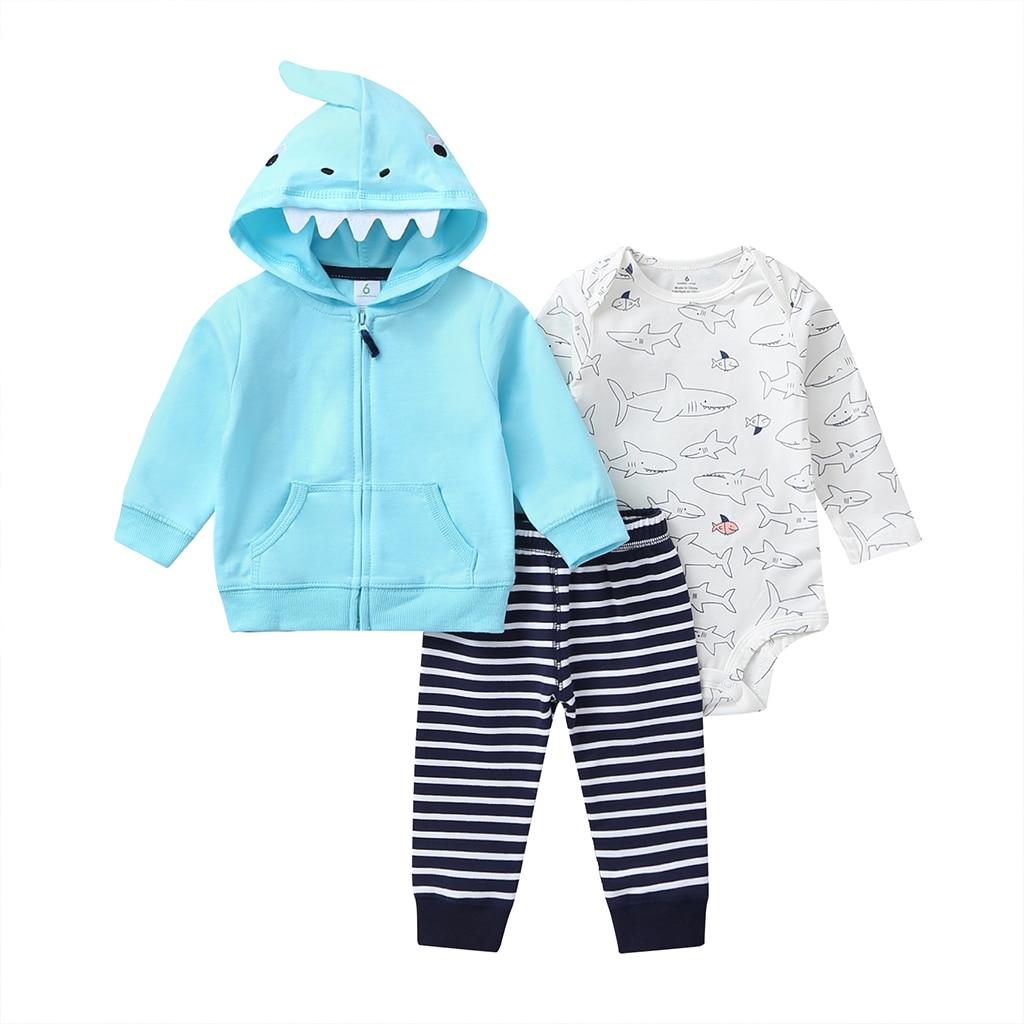 Tiburón de dibujos animados bebé niño conjunto de manga larga con capucha abrigo azul + Body + Pantalones raya 2020 primavera moda ropa de bebés recién nacidos