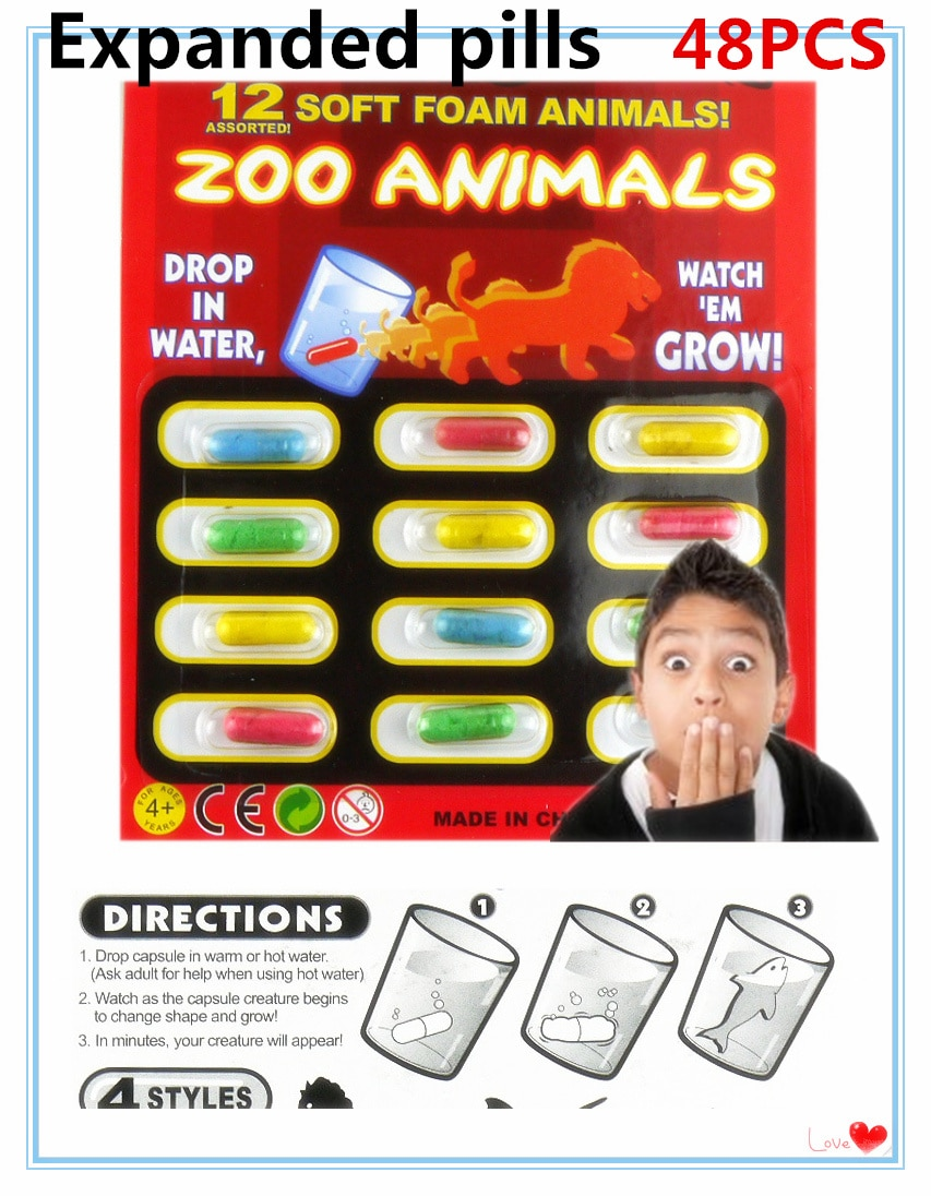 2017 New Magic Soft EVA Baby Cognition Toys Early Educational Toy Kids cartoon dinosaur Toys Bath Toy Grow capsule 4set(48PCS)