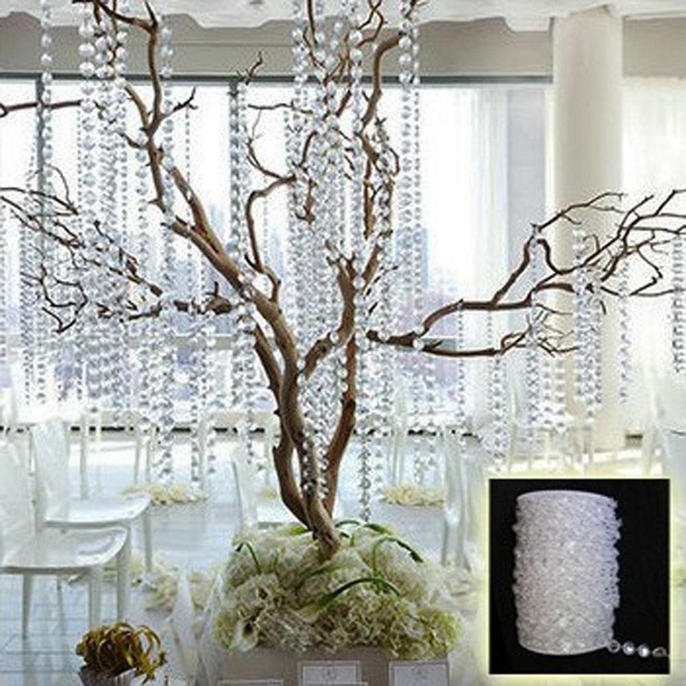 10M Bead Curtain Garland Acrylic Octagonal Crystal Iridescent Wedding Decoration Door Window Glass for DIY Party Decal Home