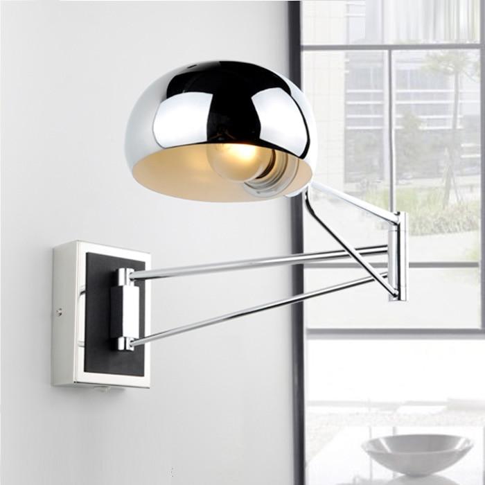 Chrome Wall Sconce Bedside wall fixtures Lighting for bedroom modern Swing Arm wall lamp Reading Lights Mirror E14 Led Arandela