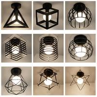 Современные скандинавские черные кованые железные светодиодные потолочные лампы E27 для кухни гостиной спальни Кабинета балкона крыльца ре...