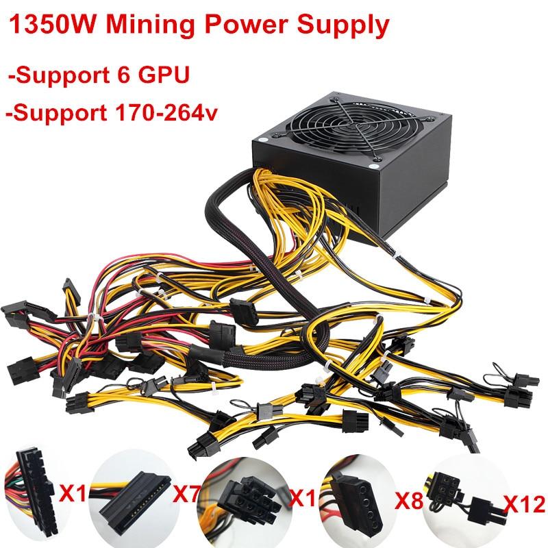 T.F.SKYWINDINTL 1350W ATX PC Power Supply 1350W Miner Mining Power Supply Mining Rig Machine for Ethereum Mining 24Pin Max 1600W