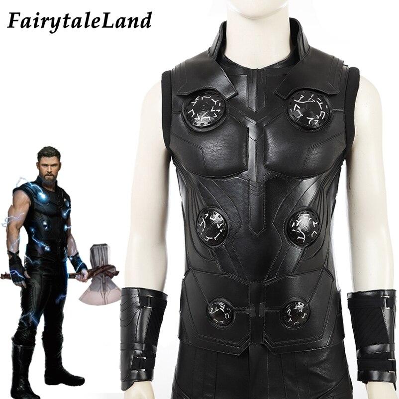 Disfraz de vengadores Infinity War, disfraz de superhéroe de Halloween, disfraz de Thor Odinson, traje de armadura negra, chaqueta de Thor, botas para Cosplay
