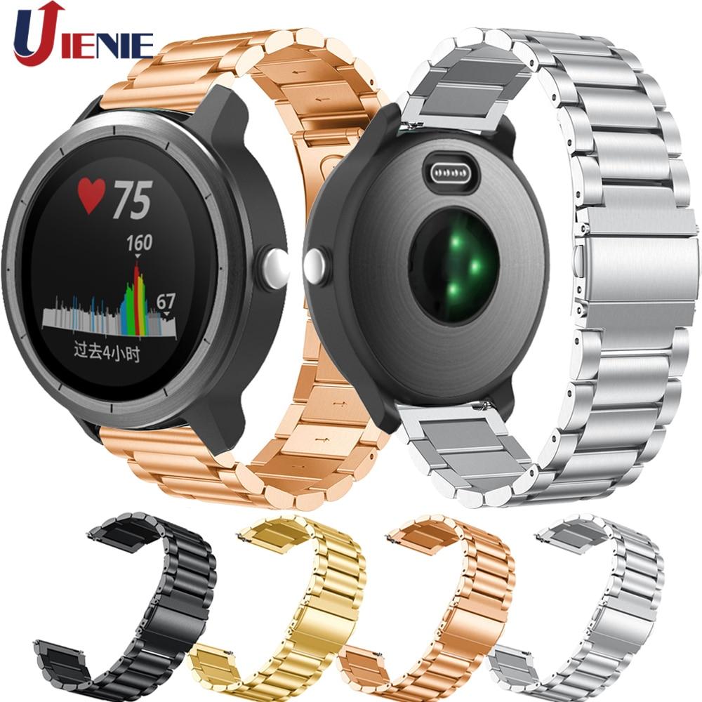 Correa de acero inoxidable 20mm para Garmin Vivoactive 3/Samsung Gear Sport S2 Galaxy 42mm Active 2 Correa de reloj pulsera de Metal
