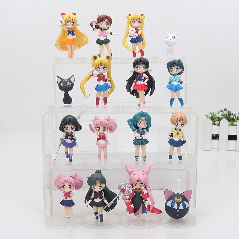 16 unids/lote Anime Sailor Moon cifras Tsukino Usagi marinero Marte mercurio Júpiter Venus Saturno juguete modelos de muñecas en PVC 6 ~ 7cm