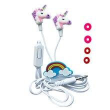 QearFun renkli Unicorn kablolu kulaklıklar çocuk müzik Stereo kulaklık 3.5mm kulaklık Sony Samsung için noel hediyesi kulaklık