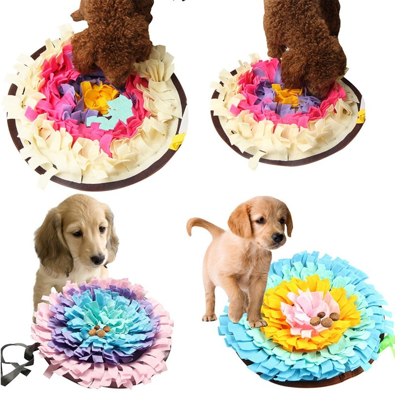 2020, nuevos juguetes para mascotas, almohadilla redonda para olfatear mascotas, manta de entrenamiento lavable, Alfombra de alimentación, juguetes de perro de colores múltiples