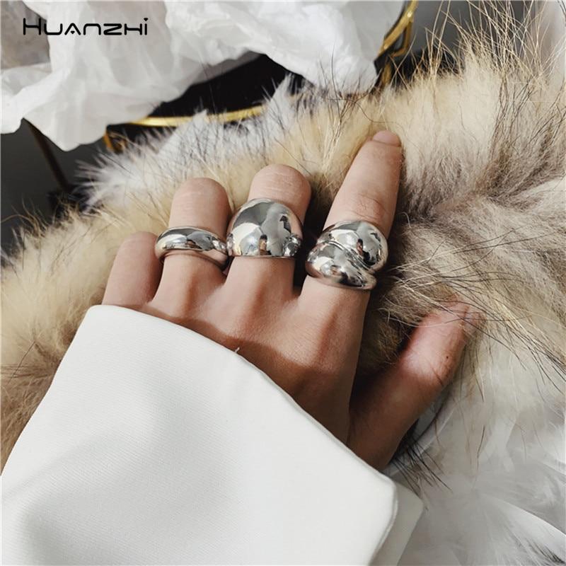 Nuevos anillos abiertos HUANZHI de Color dorado con personalidad y diseño minimalista para mujer